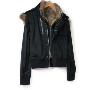 La Rok Black Cotton Rabbit Fur Lined Liner Hooded